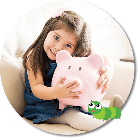 young girl hugging a toy piggy bank