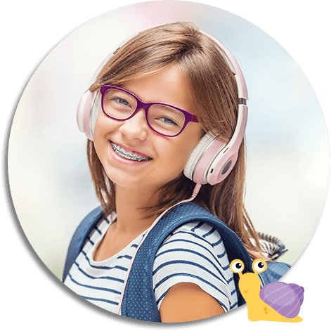 young smiling girl wearing headphones