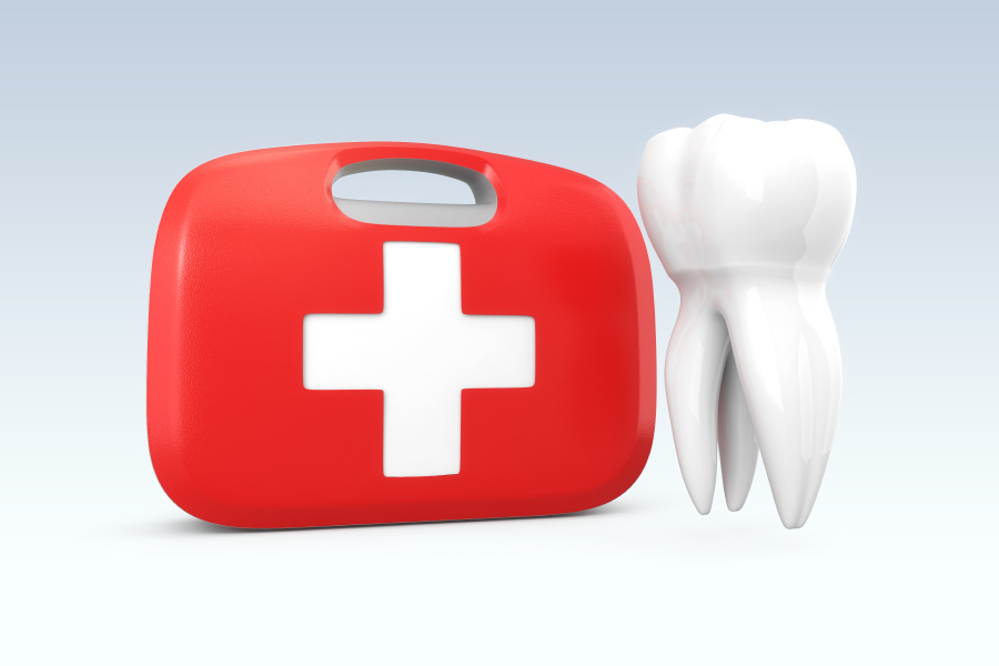 A tooth next to a red case with a plus sign to indicate a dental emergency