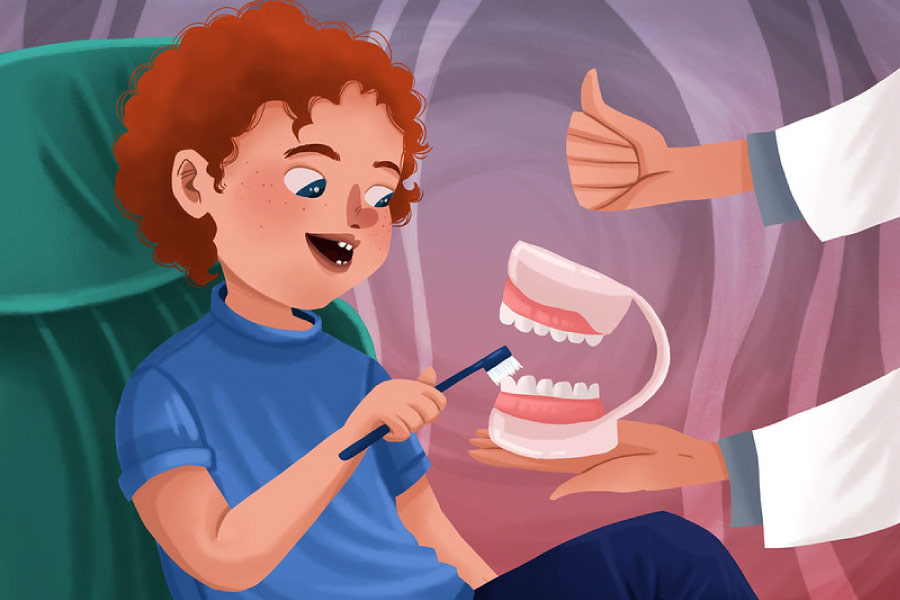Cartoon boy learning how to brush a tooth model at the dentist.